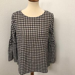 Madewell Black & White Gingham blouse bell sleeves